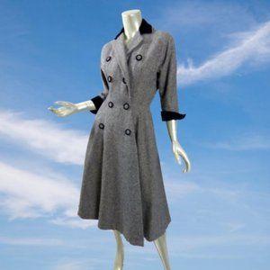 New Look Early 50s R&K Original Light Tweed Coat Dress Double Breasted Velveteen